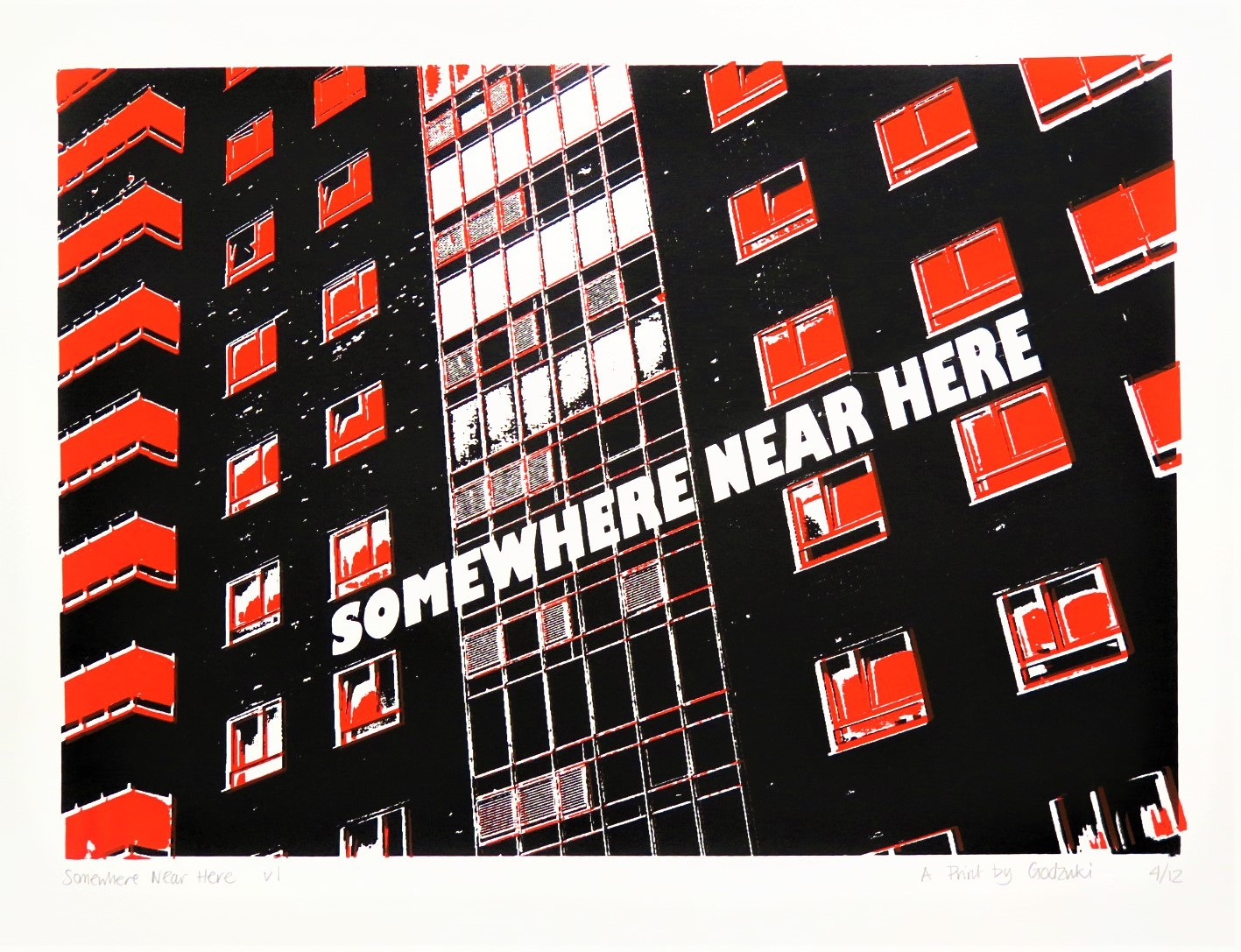 Godzuki, Somewhere Near Here, screenprint, Brighton, brutalist architecture