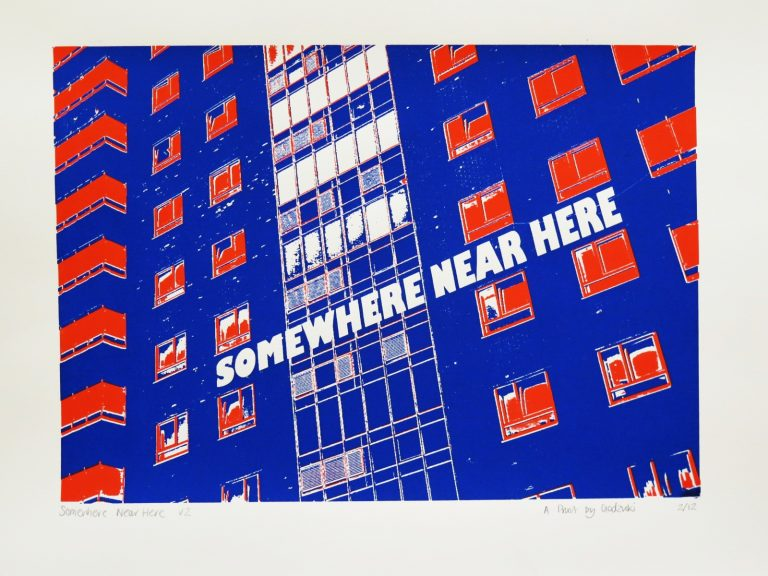 Godzuki, Somewhere Near Here, screenprint, Brighton, brutalist architecture