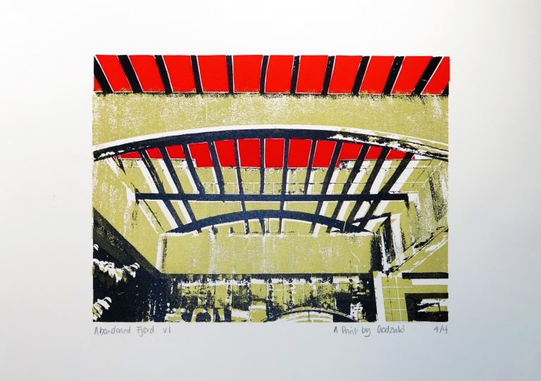 Godzuki, Abandoned Fjord, screenprint, Urbex, brutalist architecture, modernist, Kotor