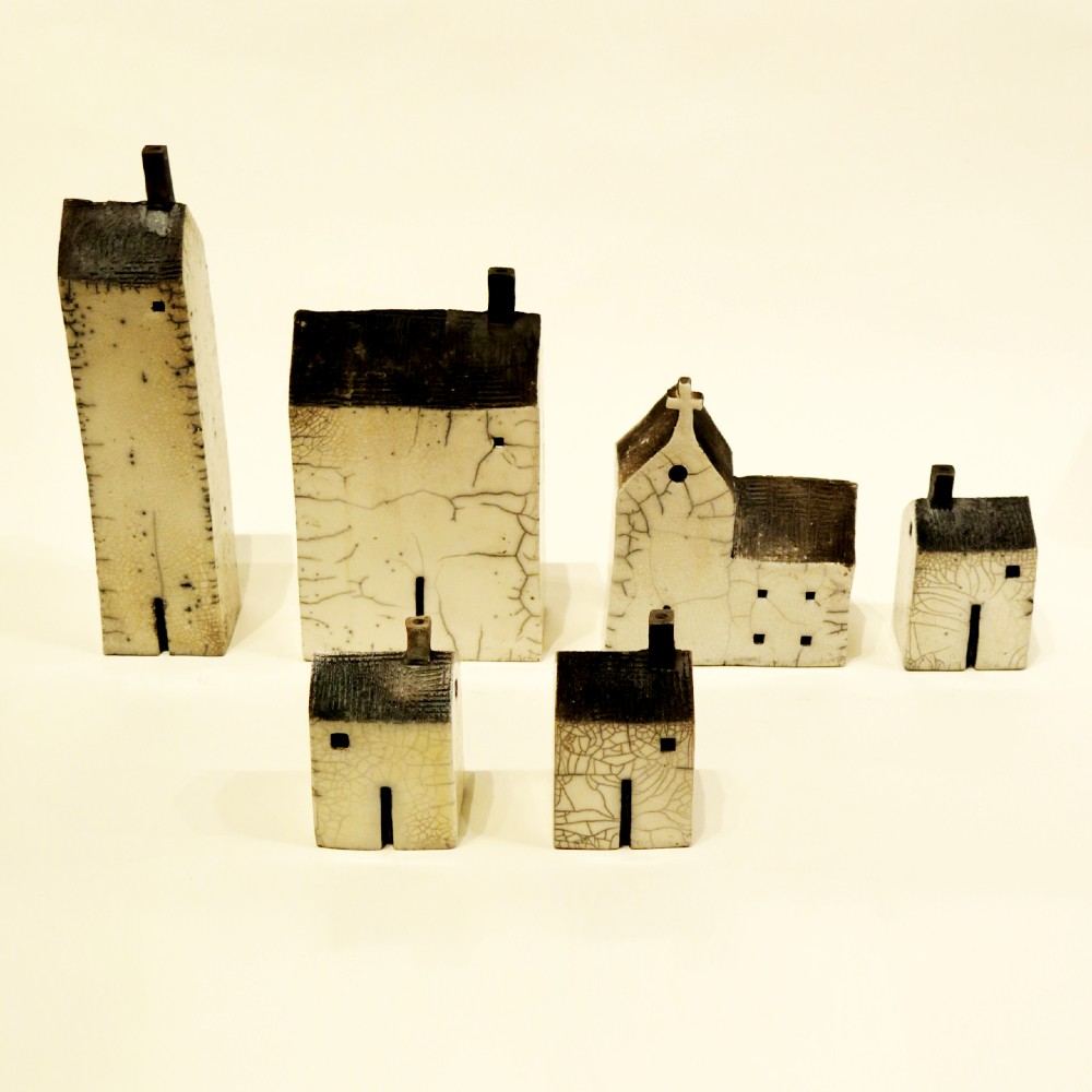 Andy Urwin raku glaze ceramic house sculpture