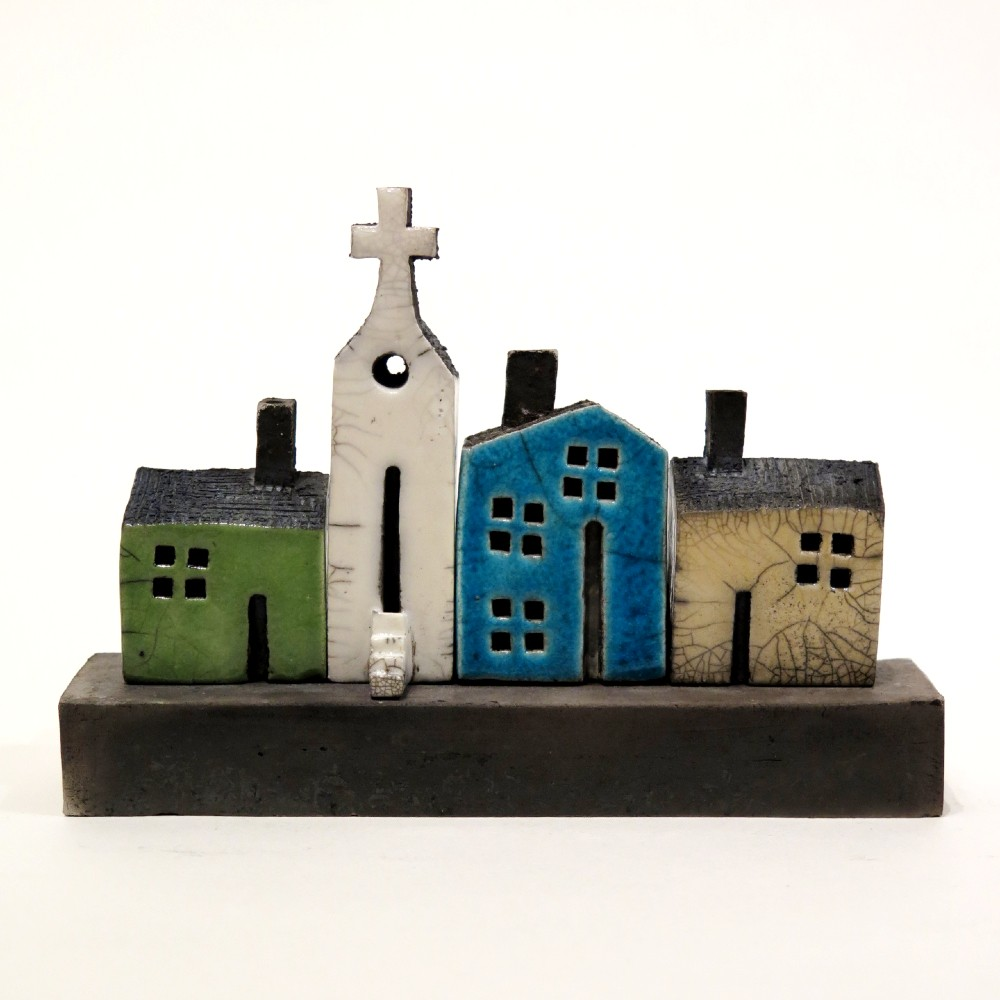 raku glaze ceramic house sculpture set