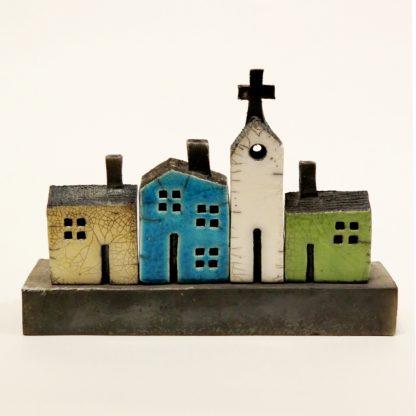 raku glaze ceramic house set sculpture