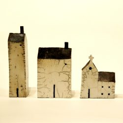 raku glaze ceramic house sculpture