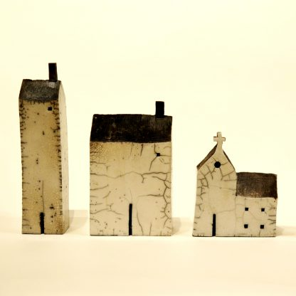 raku glaze ceramic house sculpture