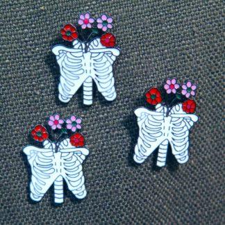 Enamel Pin: Bones & Flowers – Torso