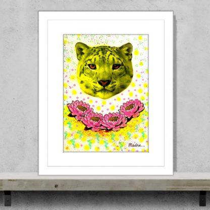Msdre - Urban Leopard - Original mixed media artwork with fluoro inks