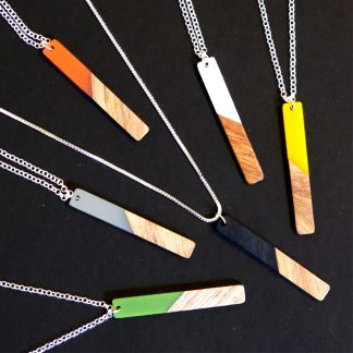 Geo Pendant Silver Necklace Wood & Acrylic Resin