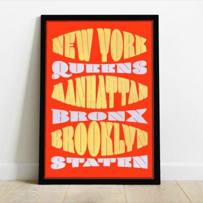 Pammi B - NY 5 boroughs - gold & silver screenprint