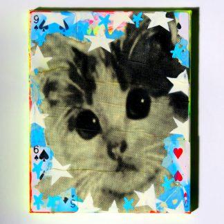 Barrie J Davies - Kitschy Cat (mini canvas)