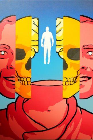 "Phil Lawson - Skin, Skull, Brain, Soul **ORIGINAL""* spraypaint painting"