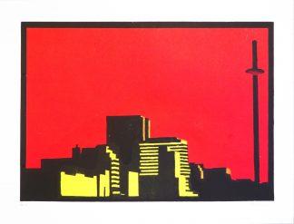 Daniel Mortimer Skinner - Brighton Skyline - Handmade linocut art print