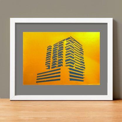aniel Mortimer Skinner - the Hilton - linocut print on gold paper