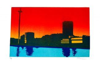 Daniel Mortimer Skinner - Brighton from the Sea - Linocut print