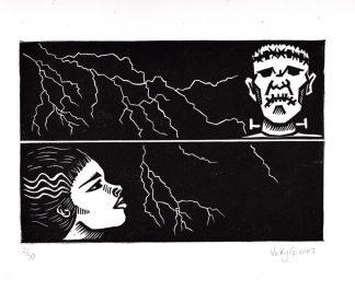 Vicky Gomez - Frankie - Handmade linocut art print