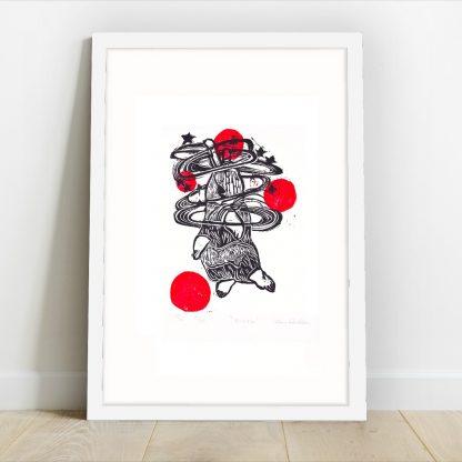 Half Sponge - Dizzy - Linocut print