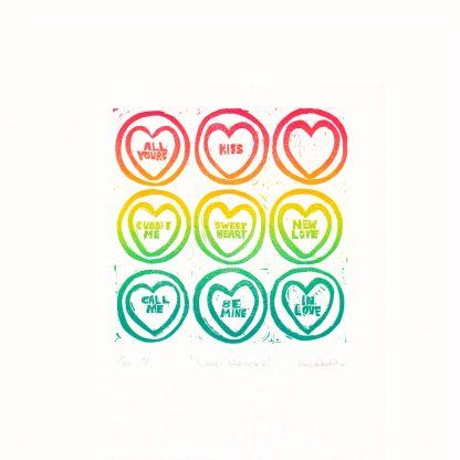 Half Sponge - Love Hearts v1 linocut print