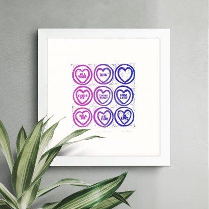 Half Sponge - Love Hearts v2 linocut print