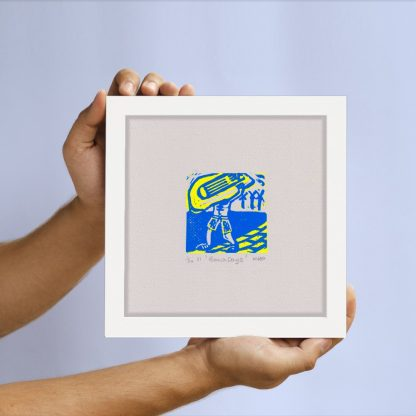 Half Sponge - Beach Days linocut print
