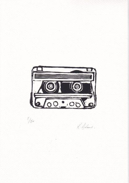 Kirsteen Adams - Cassette Tape linocut print