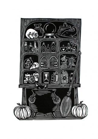 Vicky Gomez - Potions Cabinet - Handmade linocut art print