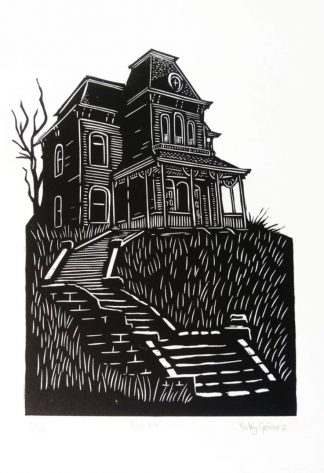 Vicky Gomez - Terror House - Handmade linocut art print